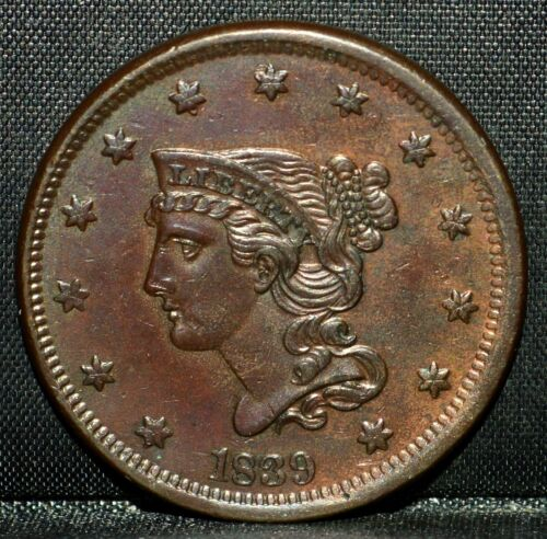 1839 BRAIDED HAIR LARGE CENT ✪ AU DETAILS ✪ TYPE OF 1840 PETITE HEAD ◢TRUSTED◣