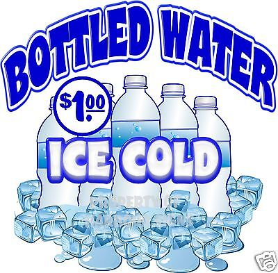 Ice Cold Bottled Water 1.00 Drinks Concession Food Truck Decal 14 Sticker
