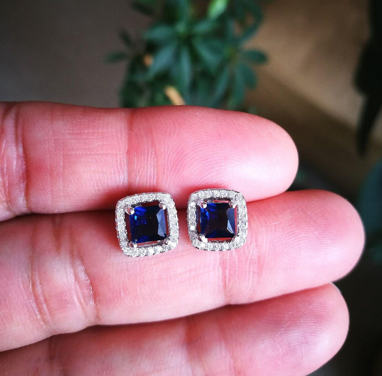 2 Ct Diamond Halo Stud Earrings with Blue Sapphire Women's Studs 14K White Gold 3