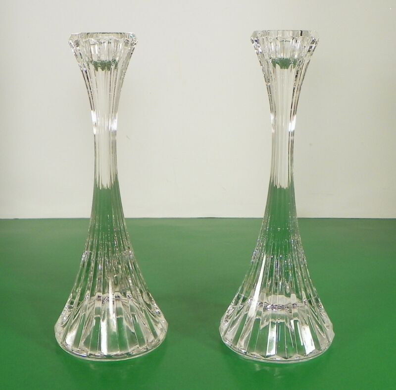 Mikasa Crystal PARK LANE Single Light Candlestick PAIR 2 Made in Germany Glass