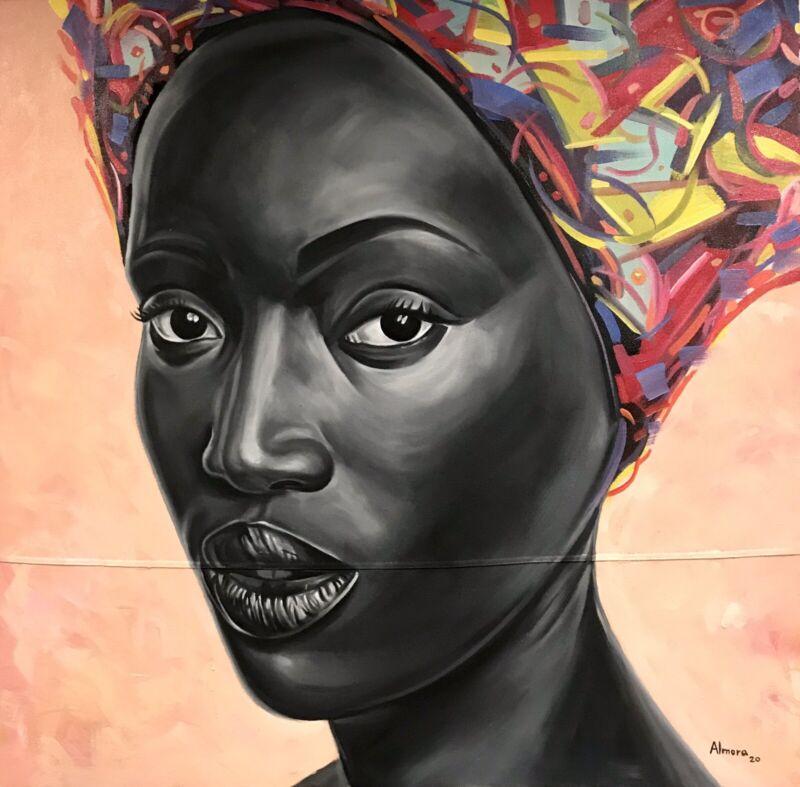 OSMEL ALMORA•MODERN REALISM•AFRICAN AMERICAN WOMEN•ORIGINAL OIL PAINTING•45x45