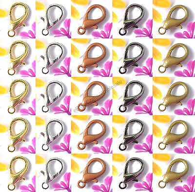 Gold Silver Copper Black Bronze Lobster Clasps Hooks DIY Jewelry - Copper Gold Clasps