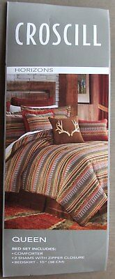 Croscill Queen Size Comforter - NEW CROSCILL HORIZIONS QUEEN SIZE 4 PIECE COMFORTER SET SOUTHWESTERN/STRIPES