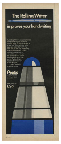 1971 PENTEL - The Rolling Writer Improves Your Handwriting vintage print ad