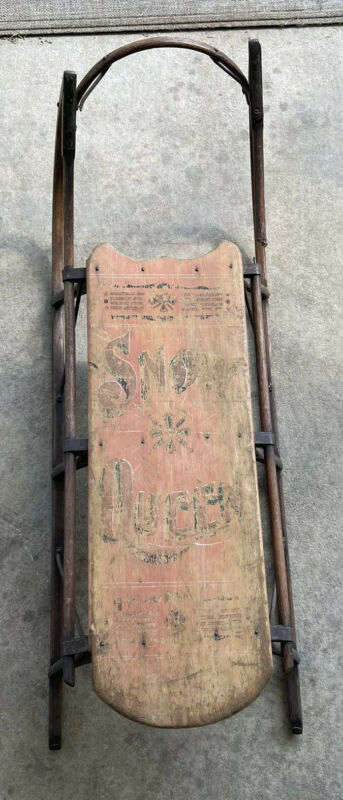 Antique Snow Queen  Childs Wood  Snow Sled, Folk Art Painted  Rare
