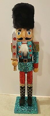 "Blue Red Soldier King Nutcracker Wooden 15"" Christmas Holiday Decorative NEW"