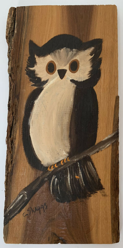 "Vintage Signed Raw Edge Wood Wall Art Owl Hand Painted 13.25"" X 6.5"""