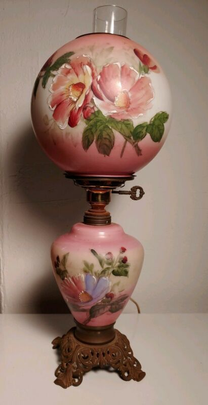 Vintage Banquet Gone With the Wind GWTW Hurricane Lamp Pink handpainted
