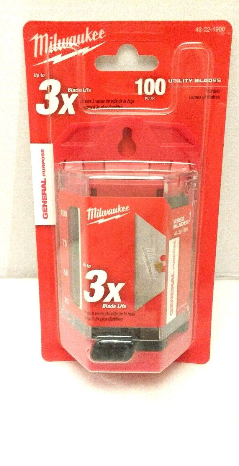 MILWAUKEE 48221900 Utility Blade, Standard 2Point, PK 100