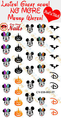 Disney Halloween Nail Decals (Disney Halloween Clear Vinyl PEEL and STICK Nail Decals)