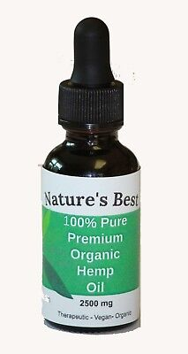 Natures Best 2500 100  Pure Vegan Organic Hemp Oil Reduces Pain   Anxiety