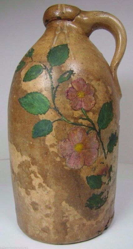 Antique Stoneware Jug Small Pottery Top Side Handle Hand Painted Flowers