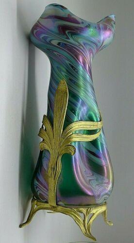 LOETZ ART NOUVEAU LARGE IRIDESCENT ART GLASS VASE GOLD GILT BRONZE c.1900