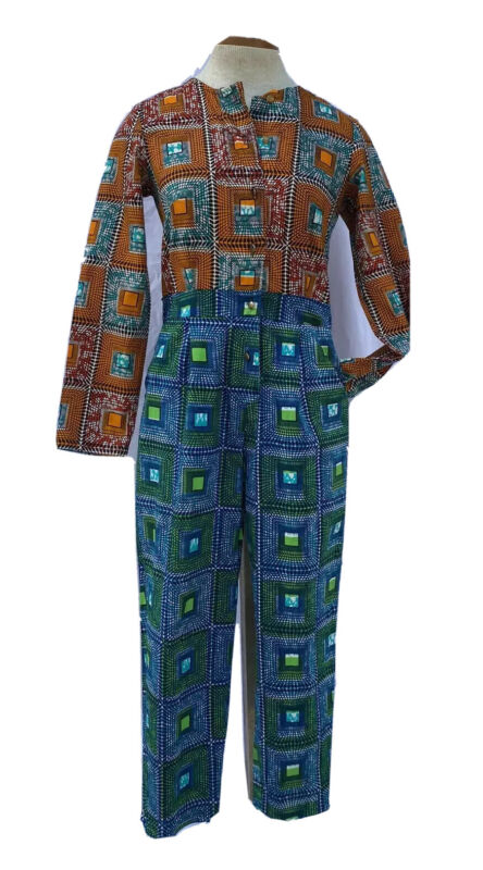Ife's Closet Dress Multi Color Coveralls African Wax Print Pants Abstract Size 6
