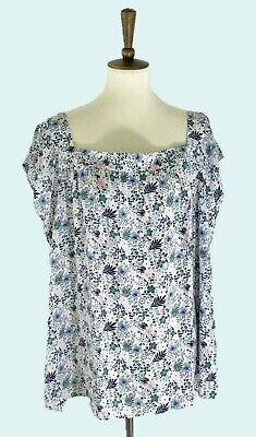 Floral Square-neck (LOFT Plus White Floral Shirred Square Neck  Blouse Top_16 18 20 22 24 26 NWT )