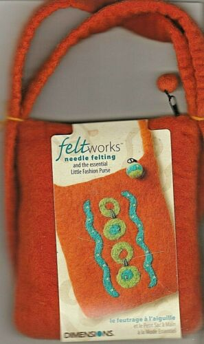 """FELT WORKS - LITTLE FASHION PURSE"" - Needle Felting Applique Kit by DIMENSIONS"