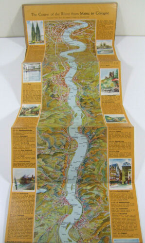 """The RHINE River MAP Panorama & Guide 1972 Germany HUGE 58"""" Stollfuss Cartography"""