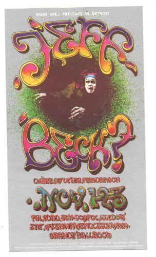 JEFF BECK GRANDE BALLROOM DETROIT 1968 ORIGINAL HANDBILL + POSTER CARL LUNDGREN