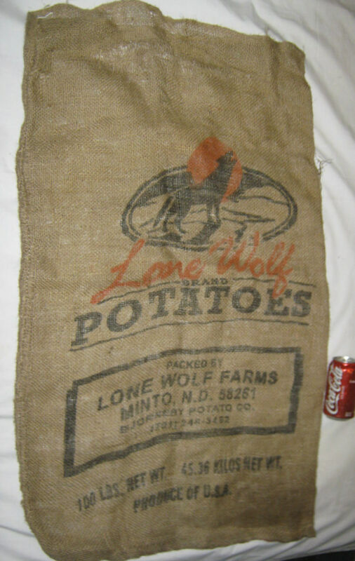 LG ANTIQUE PRIMITIVE LONE WOLF BURLAP COUNTRY POTATOE FARM  CANVAS ART PAINTING