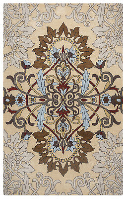Rizzy Rugs Beige Transitional Casual Leaves Wool Area Rug Medallion PA9315