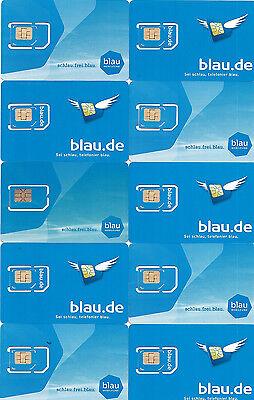 100 x Blau.de o2 E-Plus Prepaid Sim Karte Ohne Guthaben Anonym Frei & Aktiviert