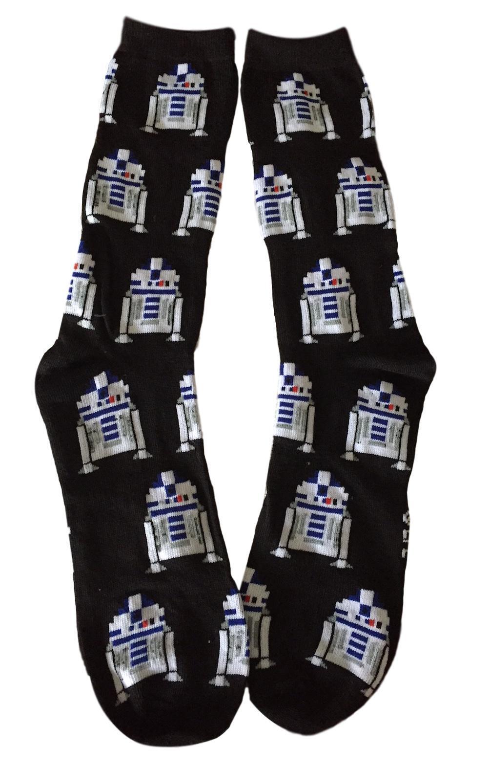 Star Wars R2-D2 Black Crew Socks Repeat Droids Adult Sized C