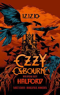 OZZY OSBOURNE / ROB HALFORD 2010 MINNEAPOLIS CONCERT TOUR POSTER- Black Sabbath
