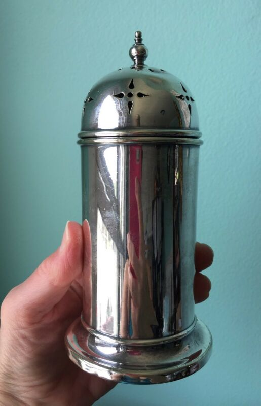 antique silver plate muffineer sugar shaker caster D&B dome top