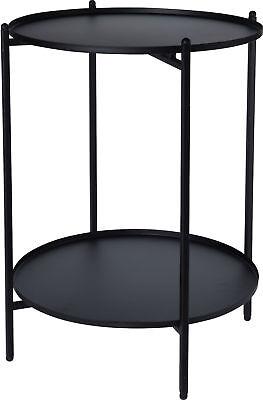 Metall Beistelltisch schwarz 50x35 cm - 2 Ablagen / klappbar - Couchtisch Tisch - Schlafzimmer Metall Beistelltisch