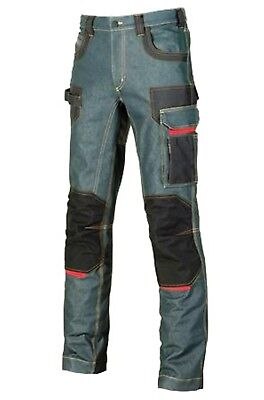 Upower Pantalone da lavoro tessuto Jeans 330gr/m2 Multitasca Platinum Button