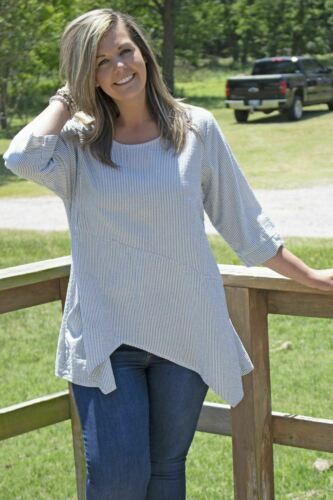 NEW Tulip Clothing Pippa Tunic - Wave Stripe Lagenlook Cotton Size S-XL