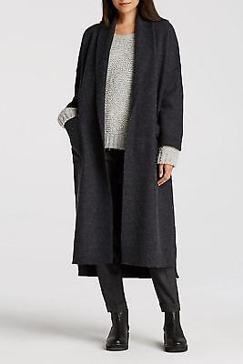 $448 PS EILEEN FISHER Boiled Wool THE ICONS Calf Length Kimono Coat Black Small