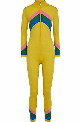 NWOT PERFECT MOMENT Chevron Jumpsuit in Yellow Merino Wool France Ski S $590