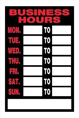 Business Hours Open Closed Door Window Sign Days Of Week 8x12 Hillman 839888