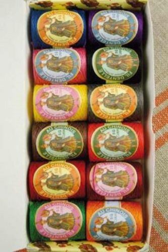 Fil au Chinois Lace Thread Bright Tones Calais Cocoons #1 Set of 12 w/Box