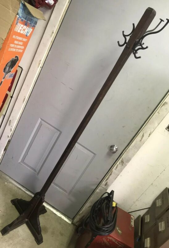 Tall Original Early Antique Oak Arts & Crafts Hall Tree Hat Coat Rack