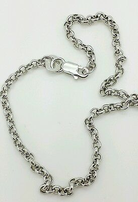"10k White Gold Rolo Anklet Chain 10"" 2.3mm"