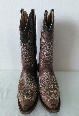 Great CORRAL Girls cowhide embroidered western brown leather boots Size 2 T