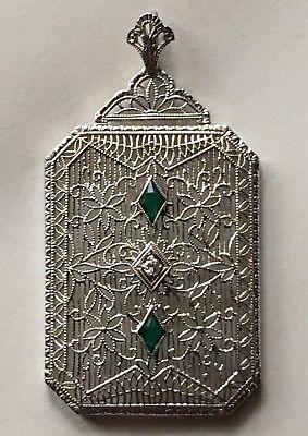 Antique Art Deco 1920s Filigree Floral 10K Gold Diamond Emerald Pendant