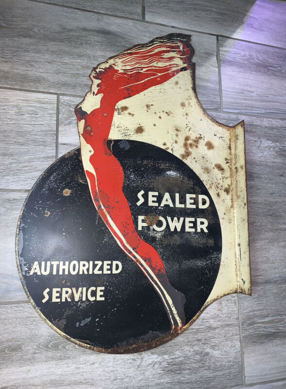 1940s Sealed Power Piston Rings Sign Double Sided DS Flying Lady Metal Service