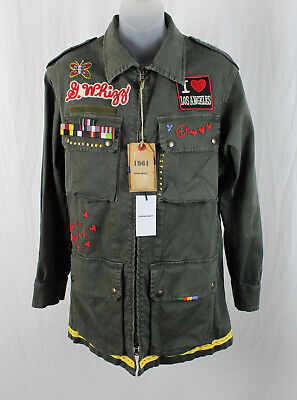 History Repeats NWT Women's Olive Patchwork Embroidered Light Weight Jacket 42 8