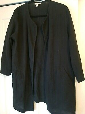 Eileen Fisher Womens Size L Black Textured Oversized Long Organic Cotton Jacket