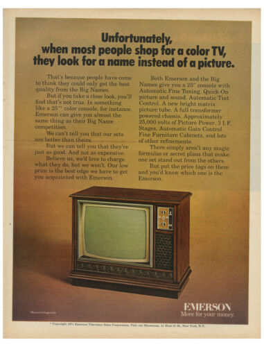 1971 Emerson Television - More For Your Money - Color TV vintage print ad