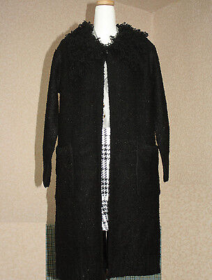 Knit Sweatercoat for Woman Loop Collar Black Poly Mix 41 inch Long Acrylic Mix M