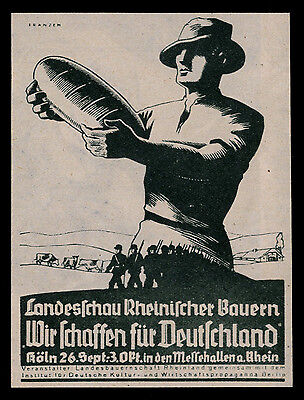 Alte Reklame 1937 Landesschau Rheinischer Bauern Wir schaffen für Deutschland