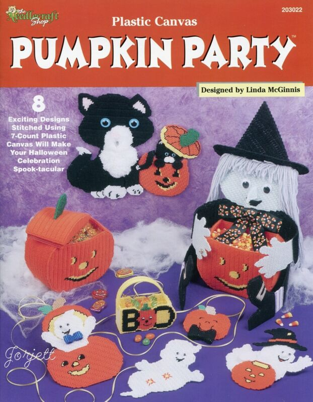 Pumpkin Party, Halloween Kitty Ghost Witch &More plastic canvas pattern book NEW