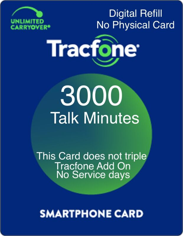 TracFone 3000 Minutes Prepaid Add On Refill Card for SmartPhone. Directly, Fast.