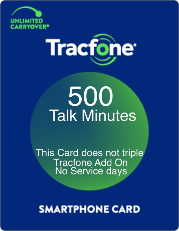 TracFone 500 Talk Minutes Add On Refill Card for SmartPhone. Directly and Fast.