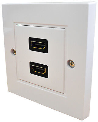 Twin / Double HDMI Single Gang Size White Wallplate - Provides 2 x HDMI Sockets