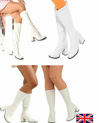 New Knee High Boots - 60's 70's Go Go Fashion Boots White Patent - Size 3-9 UK -